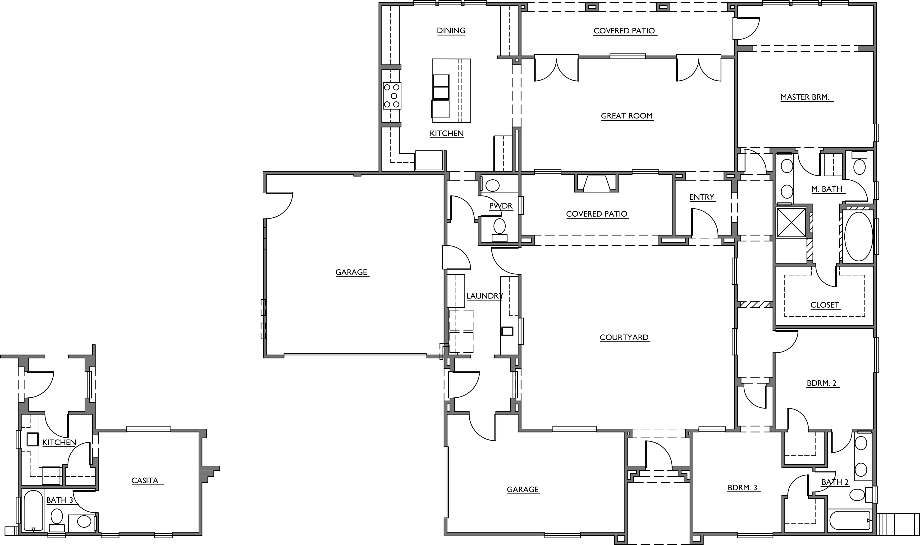 house plan with courtyard home plans with casita and courtyard 18486